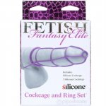 Fetish Fantasy Elite Silicone Cockcage & Ring Set - Purple Sex Toy