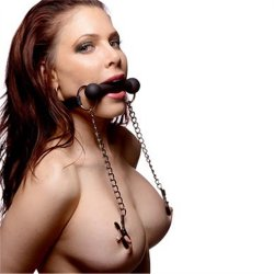 Silicone Bit Gag With Nipple Clamps Sex Toy